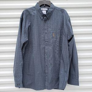 Columbia plaid long sleeved button down shirt